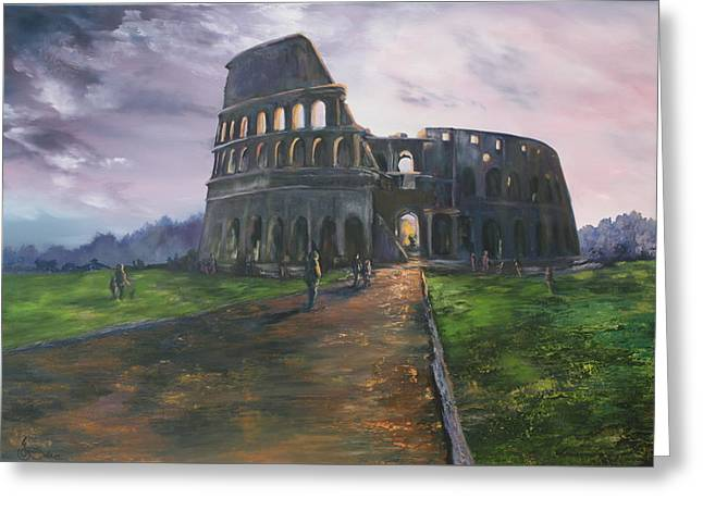 Greeting Card featuring the painting Coliseum Rome by Jean Walker
