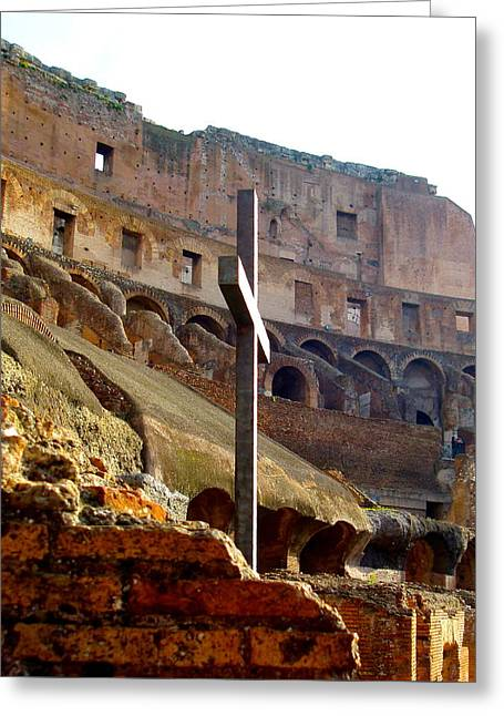 Colisseum Cross Greeting Card by J A Cahill