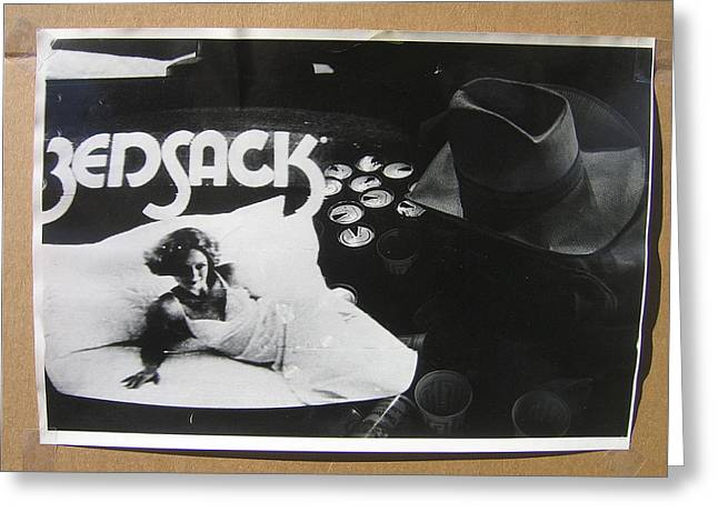 Collage Bedsack Ad Cowboy Hat And Empty Beer Cans Crystal Palace Saloon Tombstone Arizona 1979-2012 Greeting Card by David Lee Guss
