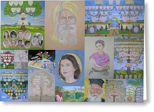 Collage Of Family Trees And Portraits Created By Www.family-tree-art.com Greeting Card by Alix Mordant