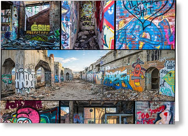 Greeting Card featuring the photograph Collage Of Graffiti by Steven Santamour