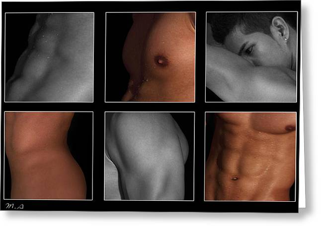 Collage Of Men  4 Greeting Card by Mark Ashkenazi