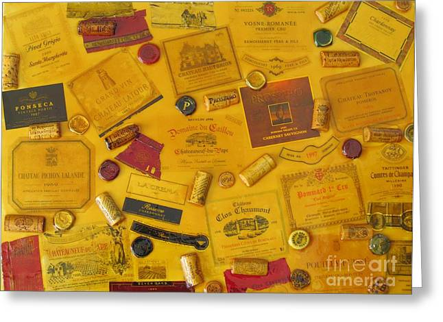 Collage Of Wine Bottle Labels And Corks Greeting Card