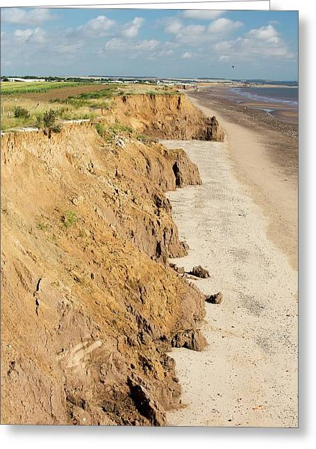 Collapsed Coastal Cliffs Near Aldbrough Greeting Card by Ashley Cooper