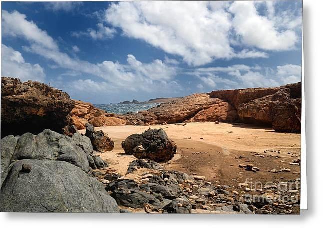 Collapsed Natural Bridge Aruba Greeting Card by Amy Cicconi