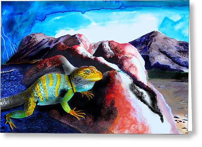 Collared Lizard Greeting Card by J Griff Griffin