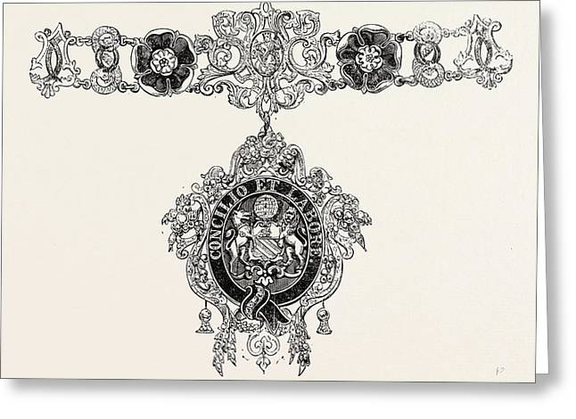 Collars And Jewel Of The Mayor Of Manchester Greeting Card by English School