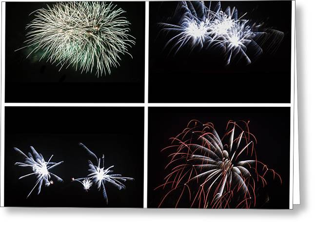 Collection Of Bright Colorful Firework Burst Explosions On Black Greeting Card by Matthew Gibson