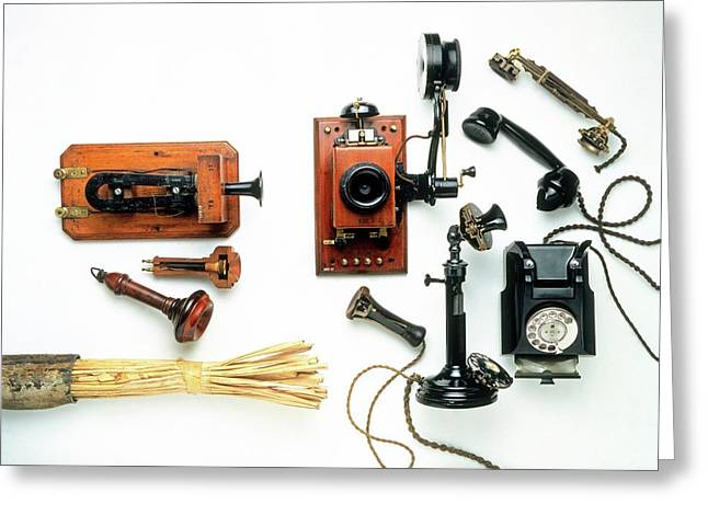 Collection Of Early Telephones Greeting Card by Dorling Kindersley/uig