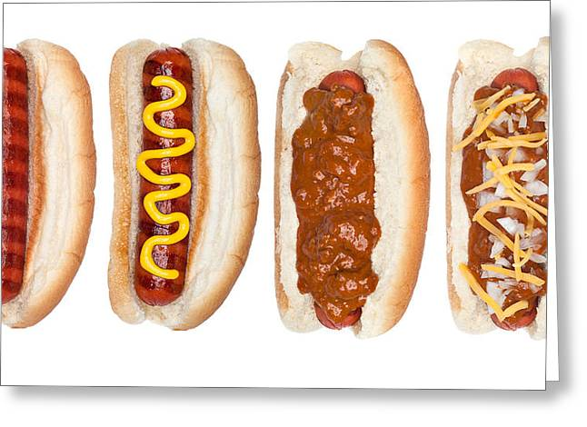 Collection Of Hotdogs Greeting Card
