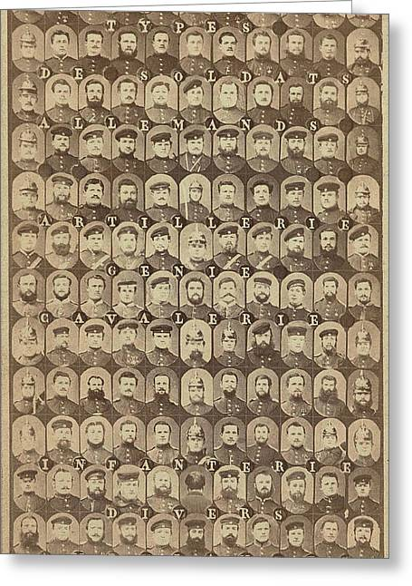 Collection Of Mosaic Heads, Types De Soldats Allemands 1870 Greeting Card by Artokoloro