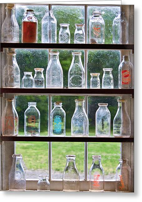 Collector - Bottles - Milk Bottles  Greeting Card by Mike Savad