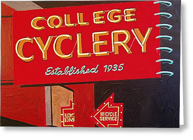 College Cyclery Greeting Card by Paul Guyer