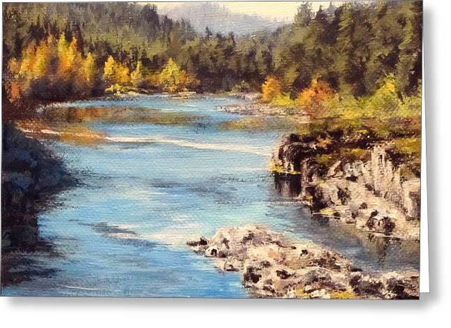Colliding Rivers Fall Greeting Card by Karen Ilari