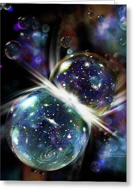 Colliding Universes Greeting Card by Nicolle R. Fuller