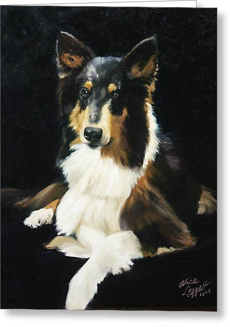 Collie Greeting Card by Alice Leggett
