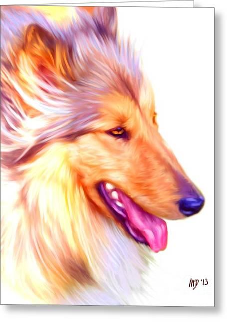 Collie Digital Dog Art Greeting Card