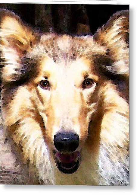 Collie Dog Art - Sunshine Greeting Card by Sharon Cummings