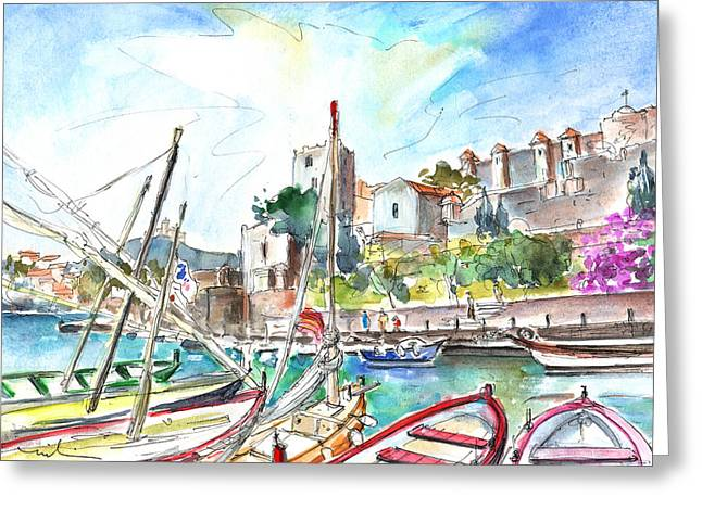 Collioure Harbour 01 Greeting Card by Miki De Goodaboom