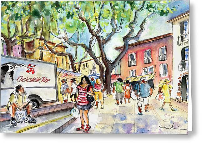 Collioure Market 01 Greeting Card by Miki De Goodaboom