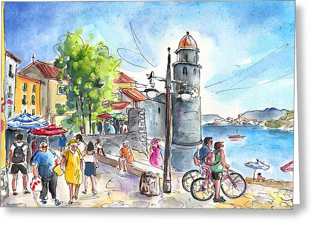 Collioure Town 01 Greeting Card by Miki De Goodaboom