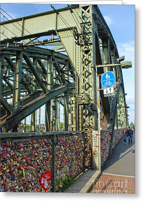 Cologne - Hohenzollern Bridge Greeting Card by Gregory Dyer