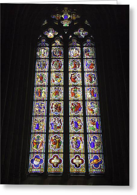 Cologne Cathedral Stained Glass Life Of Christ Greeting Card by Teresa Mucha