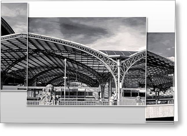 Cologne Central Train Station - Koln Hauptbahnhof - 02- Bw Greeting Card by Gregory Dyer