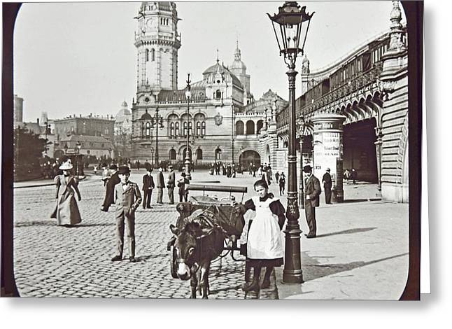 Greeting Card featuring the photograph Cologne Germany Street Scene 1903 Vintage Photograph by A Gurmankin