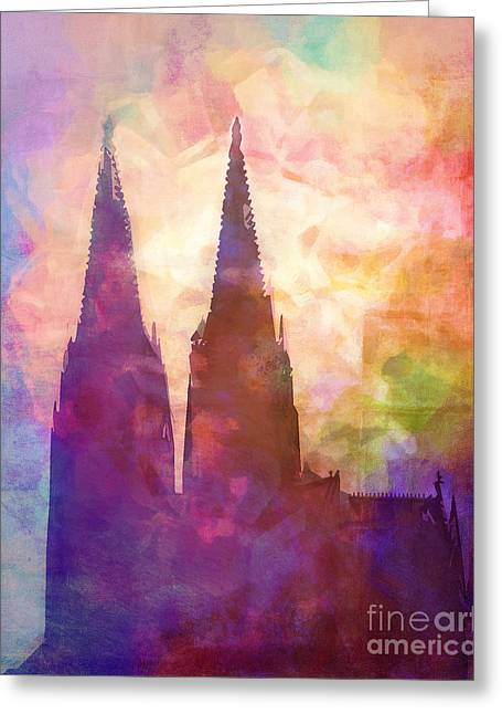 Cologne Lights Greeting Card by Lutz Baar