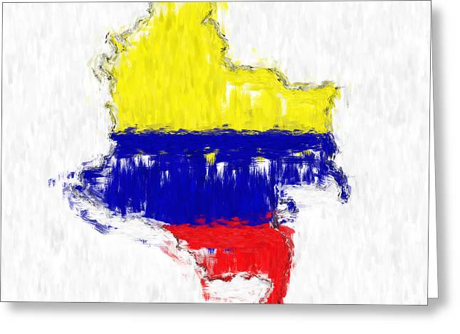 Colombia Painted Flag Map Greeting Card by Antony McAulay