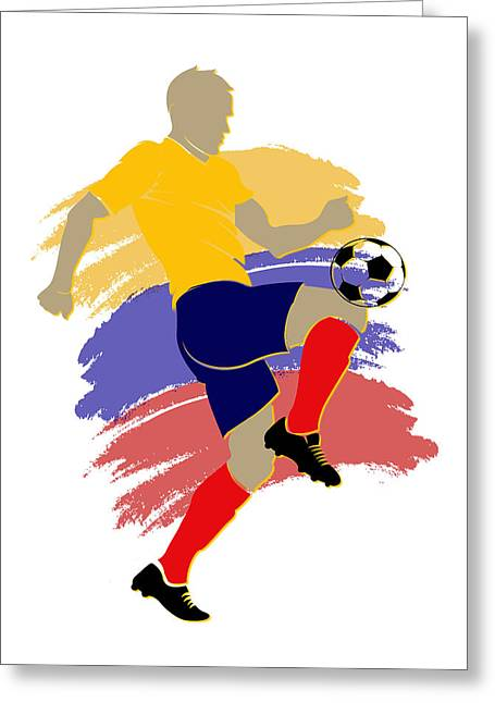 Colombia Soccer Player Greeting Card by Joe Hamilton