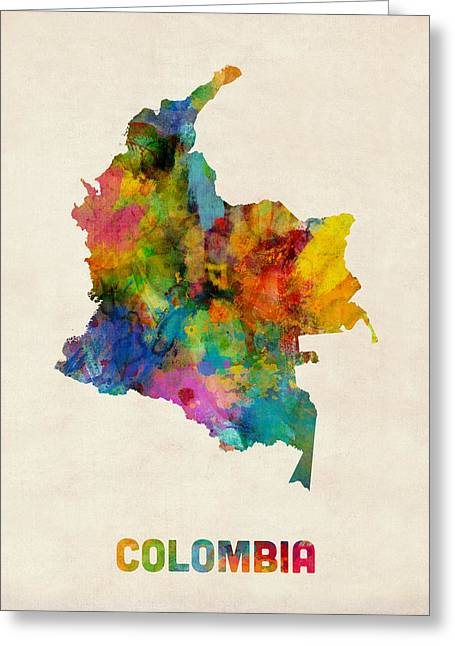 Colombia Watercolor Map Greeting Card by Michael Tompsett
