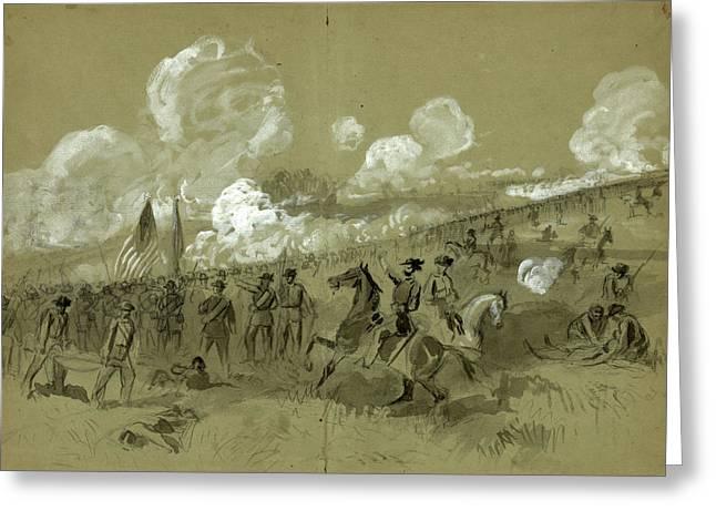 Colonel Burnsides Brigade At Bull Run, Drawing, 1862-1865 Greeting Card