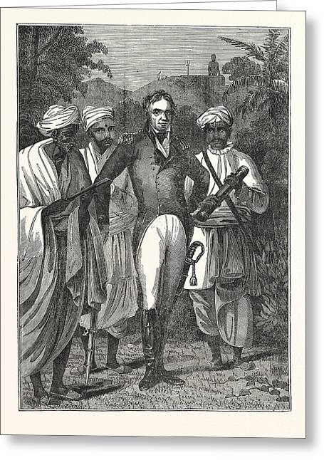 Colonel Mackenzie And The Brahmins Greeting Card by English School