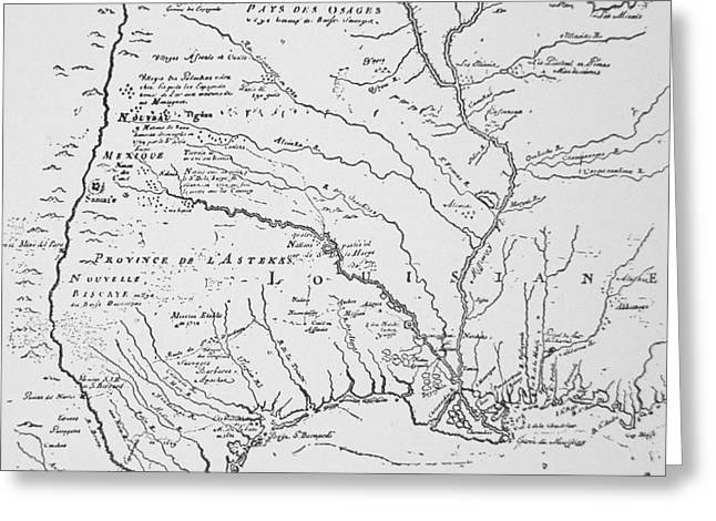 Colonial America Map Of Louisiana New  France Greeting Card