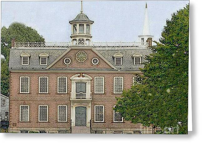 Colonial Court House Newport Rhode Island Greeting Card by Diane E Berry