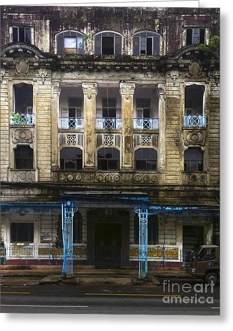 Greeting Card featuring the photograph Colonial Facade Merchant Street 8th Ward Central Yangon Burma by Ralph A  Ledergerber-Photography
