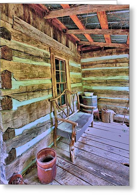 Colonial Front Porch Basics Greeting Card by Gordon Elwell