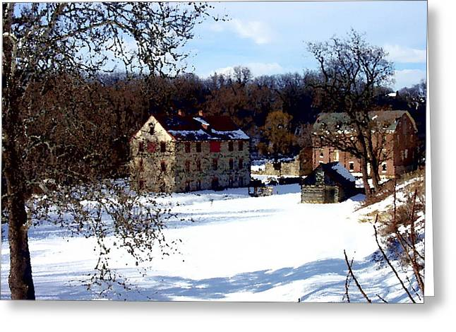 Greeting Card featuring the photograph Colonial Industrial Complex - Front Shadow - Bethlehem Pa by Jacqueline M Lewis
