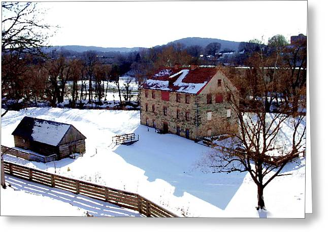 Greeting Card featuring the photograph Colonial Industrial Quarter With Fences - Bethlehem Pa by Jacqueline M Lewis