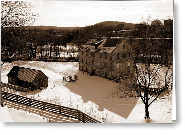 Colonial Industrial Quarter With Fences - Sepia - Bethlehem Greeting Card