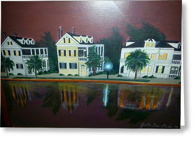 Colonial Lake View Greeting Card by Joetta Beauford