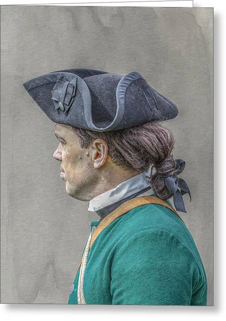 Colonial Soldier Green Jacket Portrait Greeting Card by Randy Steele