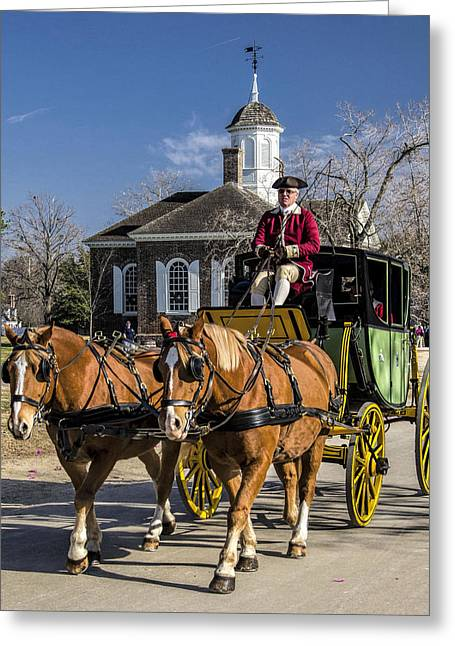 Colonial Transportation Greeting Card by Gene Myers