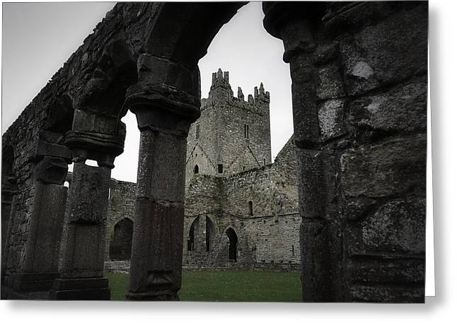 Colonnade And Tower Of Jerpoint Abbey Greeting Card by Nadalyn Larsen