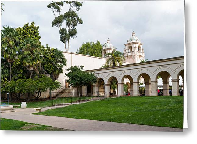 Colonnade In Balboa Park, San Diego Greeting Card by Panoramic Images