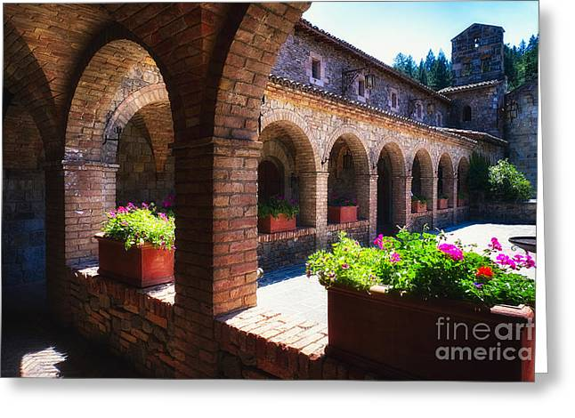 Colonnade Of An Old World Castle In Napa Valley Greeting Card