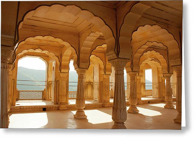 Colonnaded Gallery, Amber Fort, Jaipur Greeting Card by Inger Hogstrom