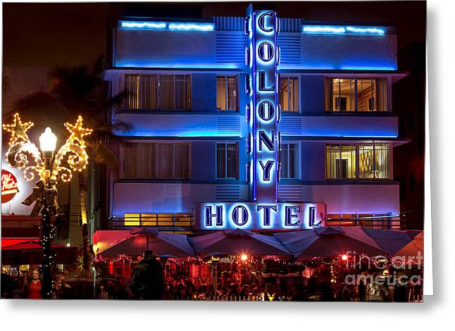 Colony Hotel South Beach Greeting Card by Rene Triay Photography